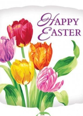 "*Happy Easter Tulip Square 18"" Mylar Balloon"