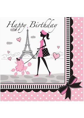 ***Party in Paris Birthday Lunch Napkin 18ct
