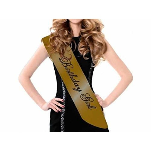 *Gold Birthday Girl Satin Sash