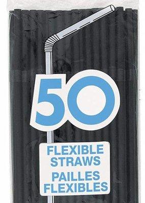 ***Black 50ct Plastic Flex Straws