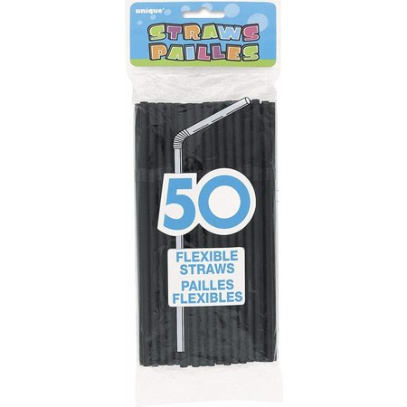 **Black 50ct Plastic Flex Straws