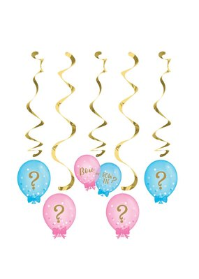 ***Gender Reveal Balloons Dizzy Danglers 5ct