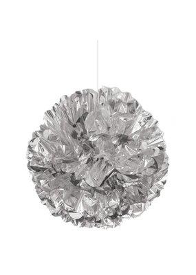 "***Silver Foil 16"" Puff Ball Decoration"