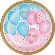 "***Gender Reveal Balloons 7"" Dessert Plates 8ct"