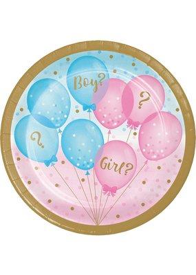 "***Gender Reveal Balloons 7"" Dessert Plates 8ct"
