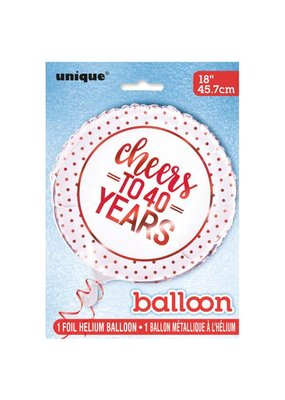 ***Cheers to 40 Years Mylar Balloon