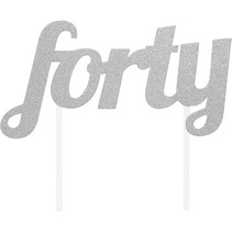 ***Forty Silver Cake Topper