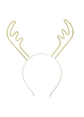 ***Gold Sparkle Reindeer Antler Headband