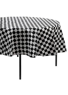 "***Black & White Check 82"" Round Plastic Tablecover"