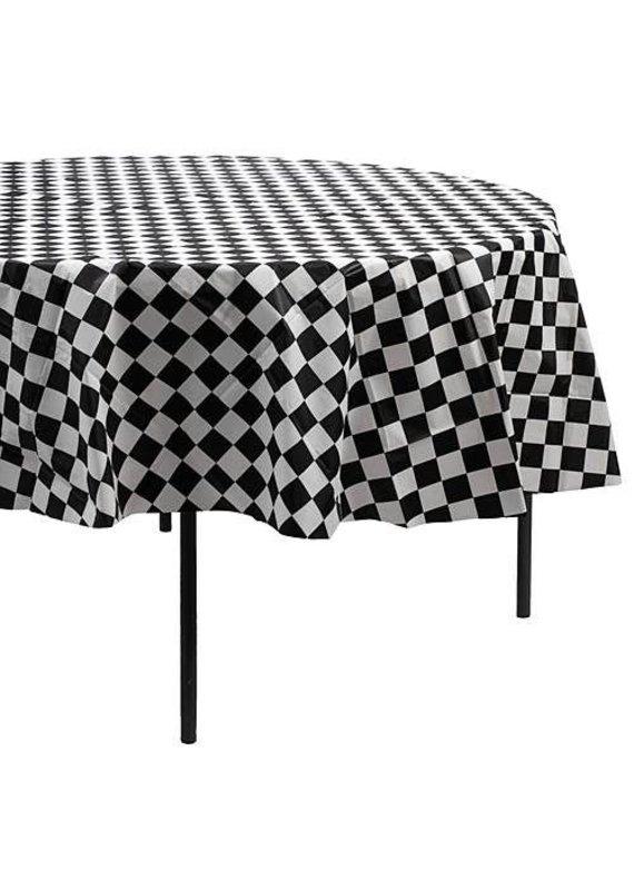 "*****Black & White Check 82"" Round Plastic Tablecover"