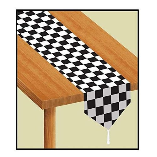 *Black & White Check Table Runner 6ft