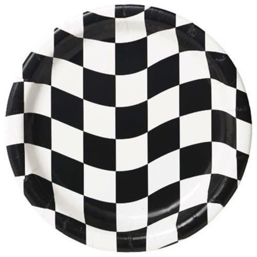"*Black & White Checks 7"" Dessert Plates 8ct"