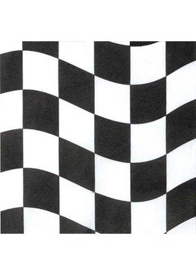 ****Black & White Checks Lunch Napkin 18ct