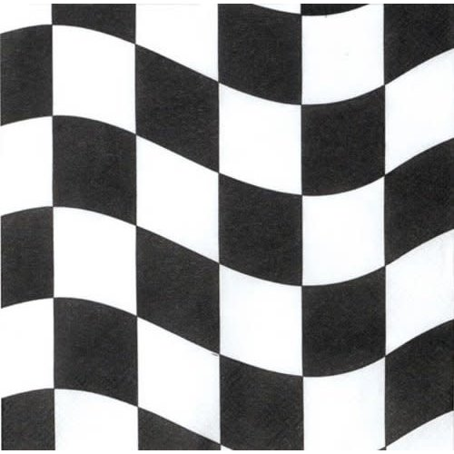 *Black & White Checks Beverage Napkins 18ct
