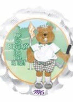 """M&D industries ***Golf Birthday Bear 18"""" Mylar Balloon"""