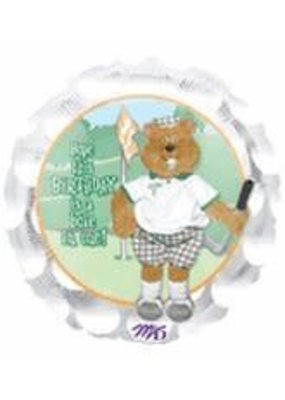 "M&D industries ***Golf Birthday Bear 18"" Mylar Balloon"