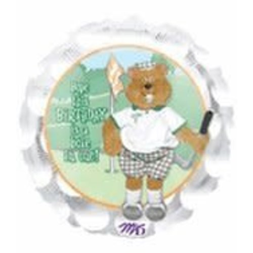 "M&D industries *Golf Birthday Bear 18"" Mylar Balloon"