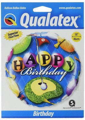 "***Happy Birthday Golf 18"" Mylar Balloon"