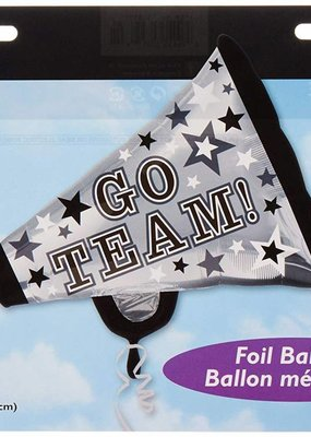 "***Go Team Silver Cheer Megaphone 29"" Mylar Balloon"