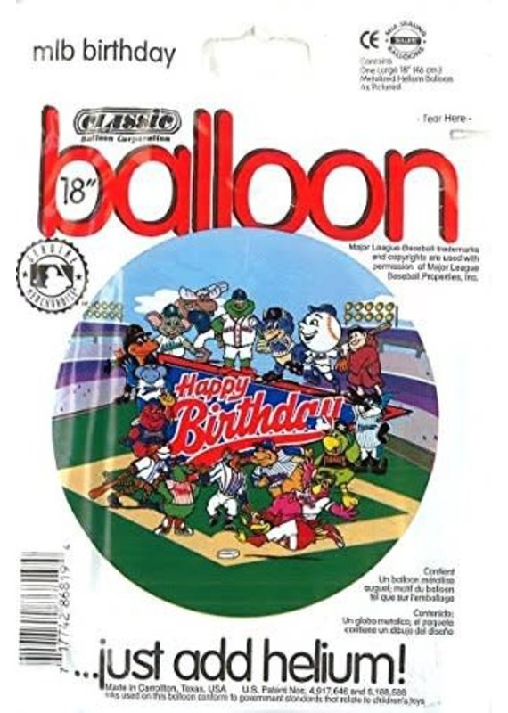 ***Major League Baseball Birthday Mylar Balloon