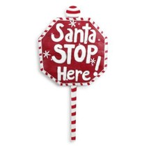 Lit Santa Stops Here Sign