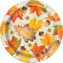 "***Gold Fall Leaves 7"" plates 8ct"