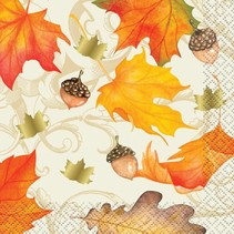 ***Gold Fall Leaves Beverage Napkins 16ct