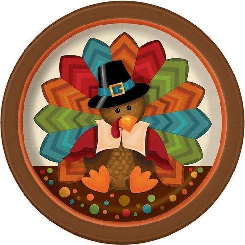 "***Cute Turkey 7"" Plate 8ct"
