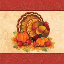 ***Thanksgiving Scroll Lunch Napkins 16ct