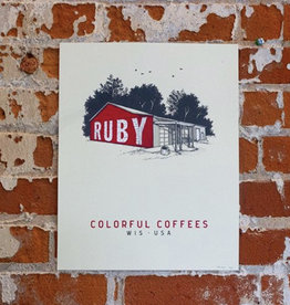 Ruby Coffee Roasters Screenprint (Print), Ruby Nelsonville