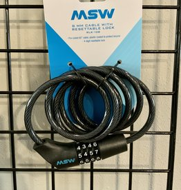 MSW MSW CLK-108 Combination Cable Lock, 8mm x 5', Black
