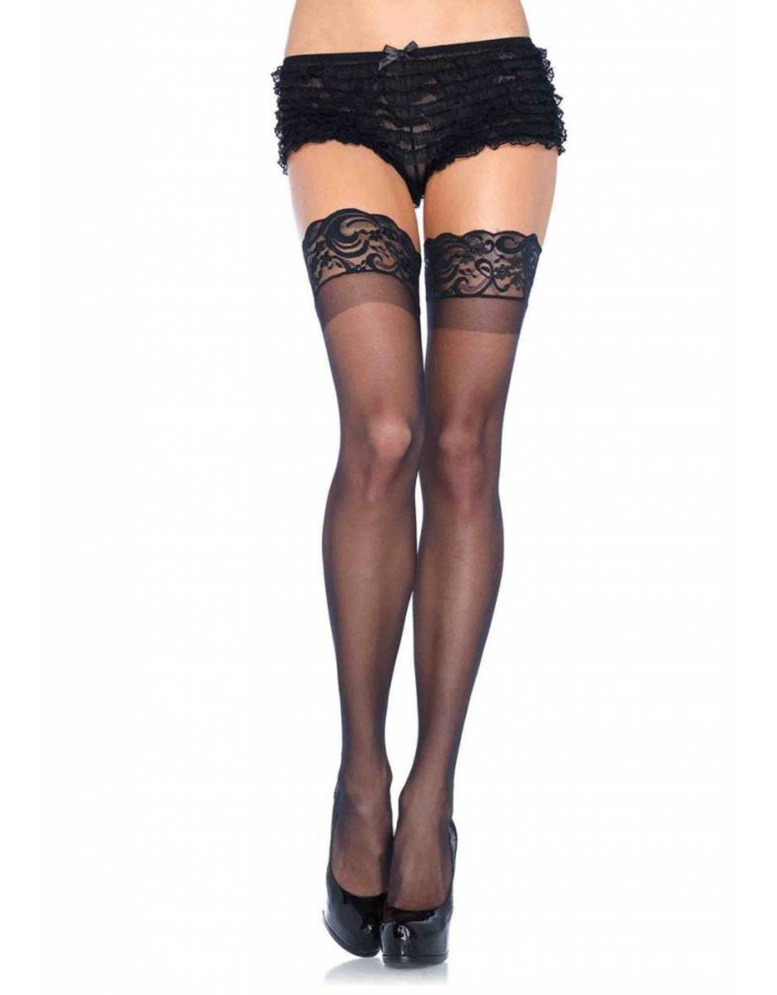 Leg Avenue Sheer Thigh High Black