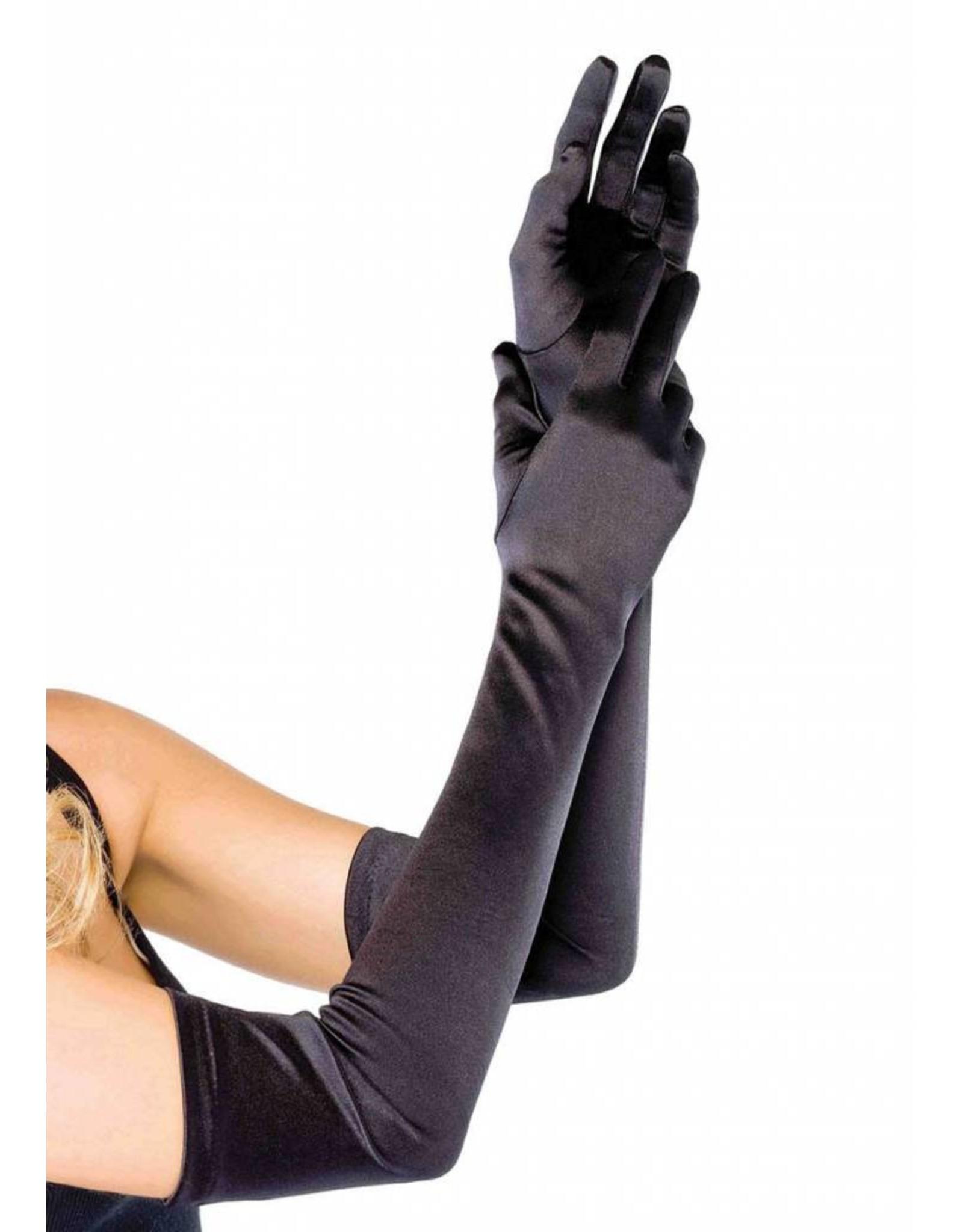 Leg Avenue Long Satin Gloves Blk