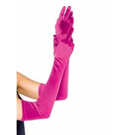 Leg Avenue Long Satin Gloves Fuchsia
