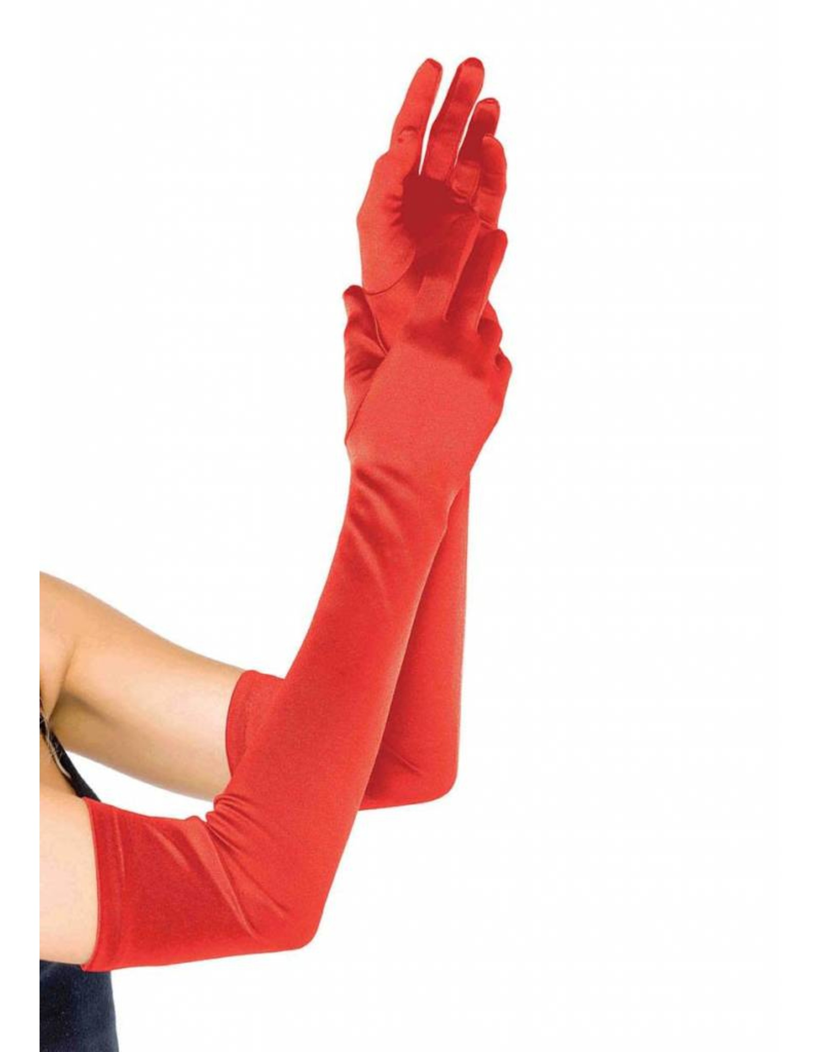 Leg Avenue Long Satin Gloves Red