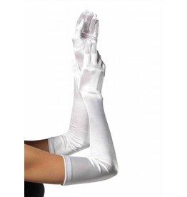 Leg Avenue Long Satin Gloves Wht