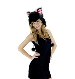 Elope Kitty Hoodie Hat Black