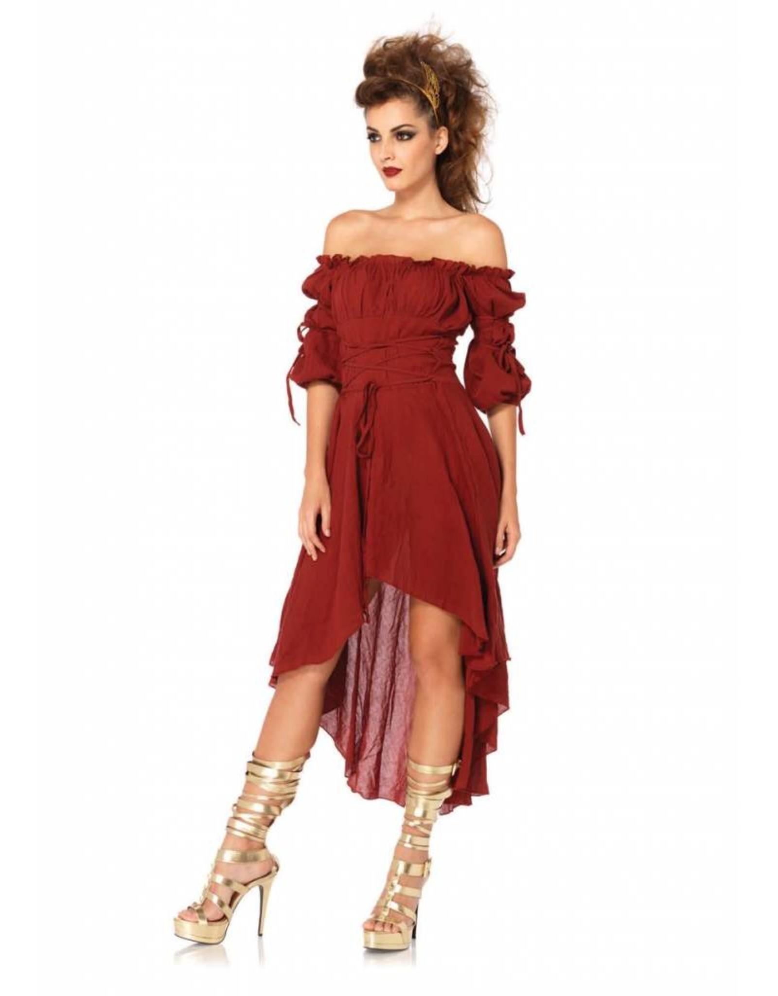 Leg Avenue Gauze Peasant Dress Rust