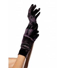 Leg Avenue Satin Wrist Length Gloves Blk