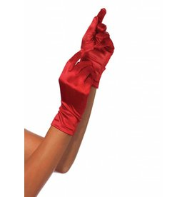 Leg Avenue Satin Wrist Length Gloves Red
