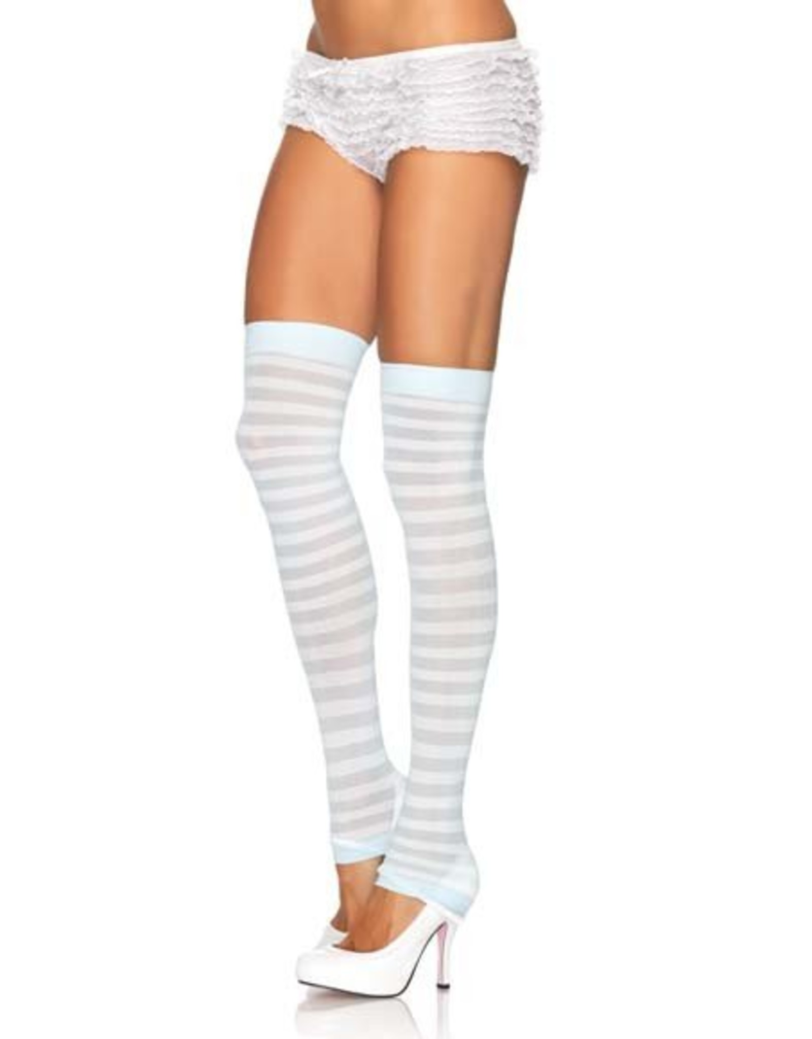 Leg Avenue Stripe Leg Warmer Wht/Blue