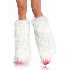 Leg Avenue Furry Leg Warmers Wht