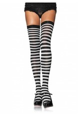 Leg Avenue Striped Thigh High Blk/White