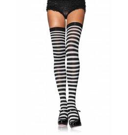 Leg Avenue Striped Thigh High Blk/White