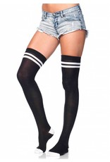 Leg Avenue Athletic Thigh Highs Blk/Wht