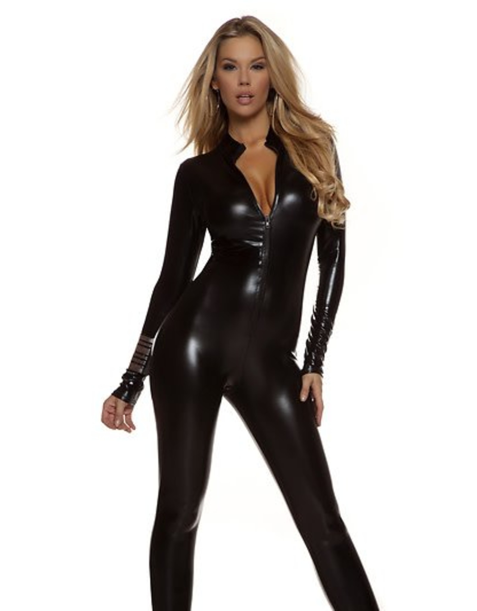 Forplay Metallic Catsuit Black