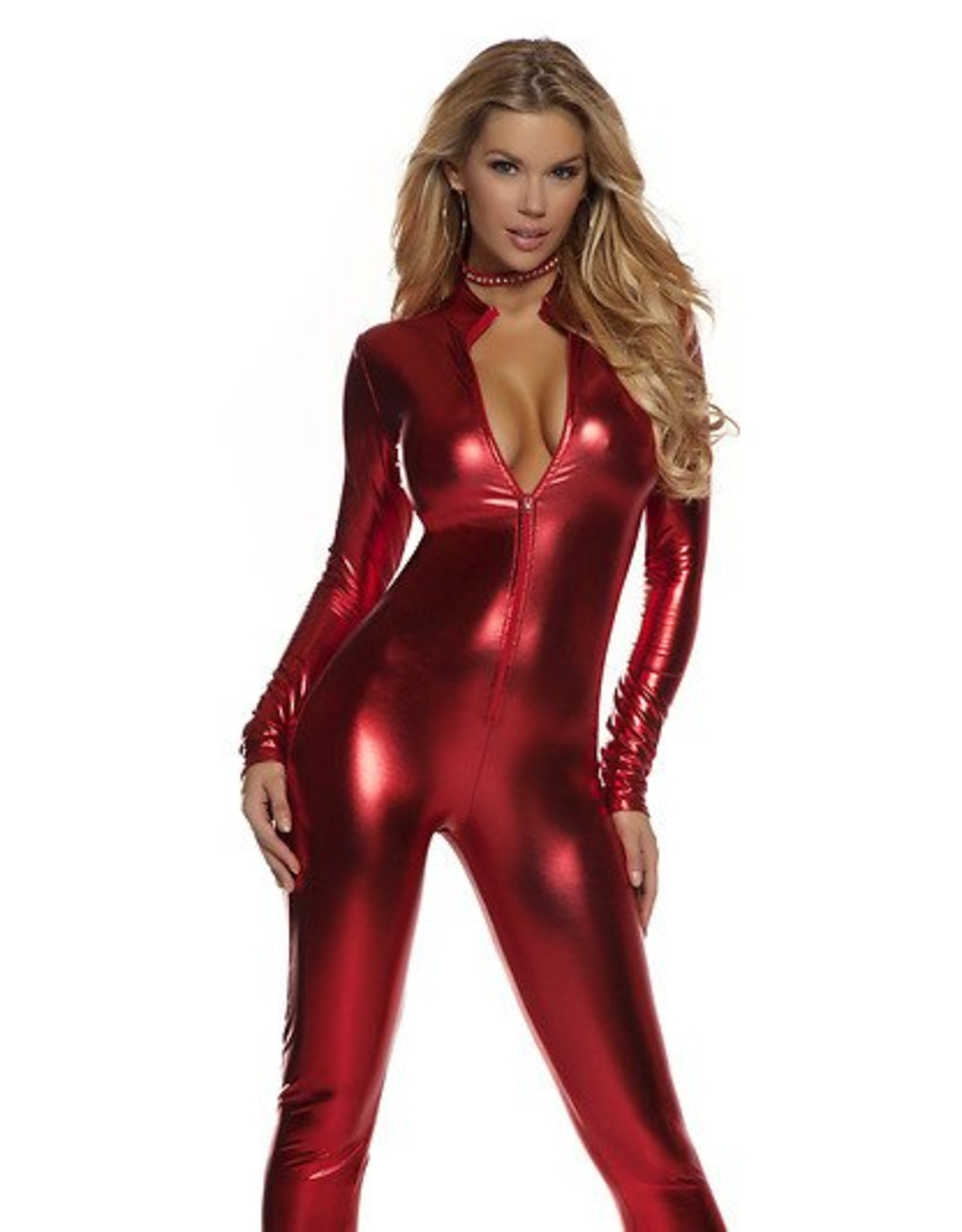 Forplay Metallic Catsuit Red