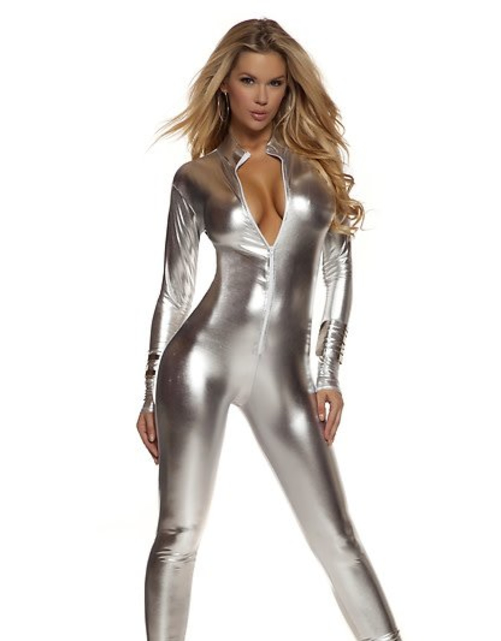 Forplay Metallic Catsuit Silver
