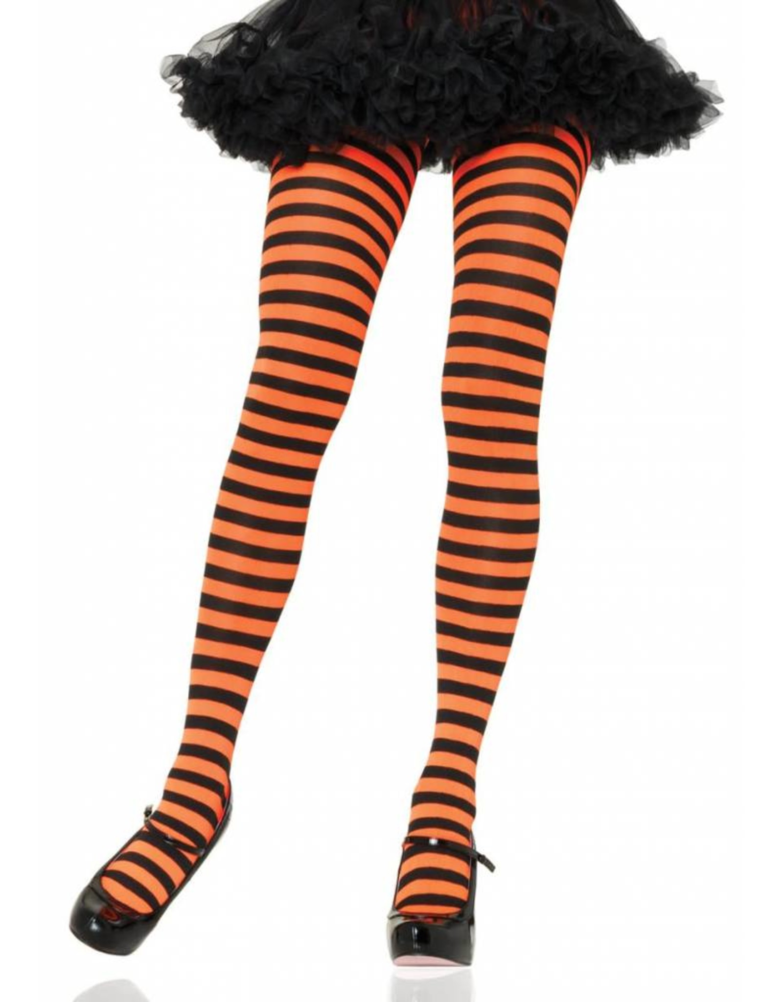 Leg Avenue Striped Tights Blk/Orange