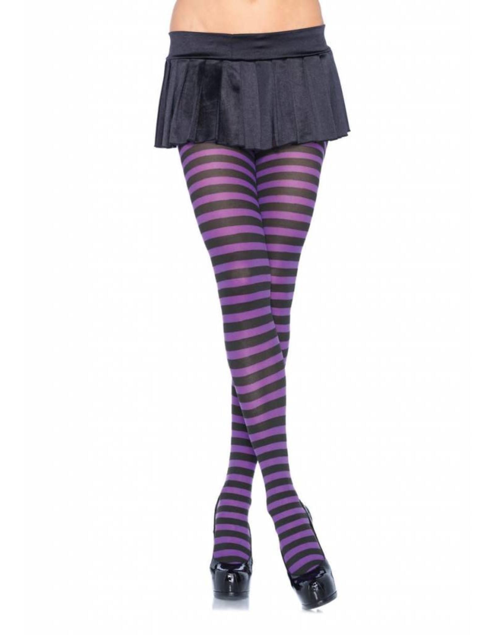 Leg Avenue Striped Tights Blk/Purple
